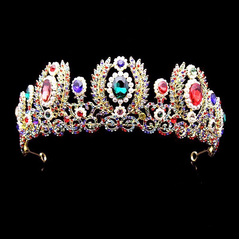 Baroque européen grande perle tiare cristal mariage cheveux accessoires coloré strass reine reconstitution historique couronne Vintage cheveux ornements