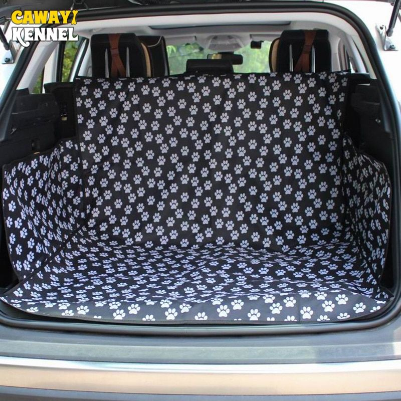 CAWAYI KENNEL Black Footprint Oxford Waterproof Pet Dog Cat Car Trunk Mat <font><b>Carrier</b></font> Cover Pet Blanket Cover Mat Protector D1086