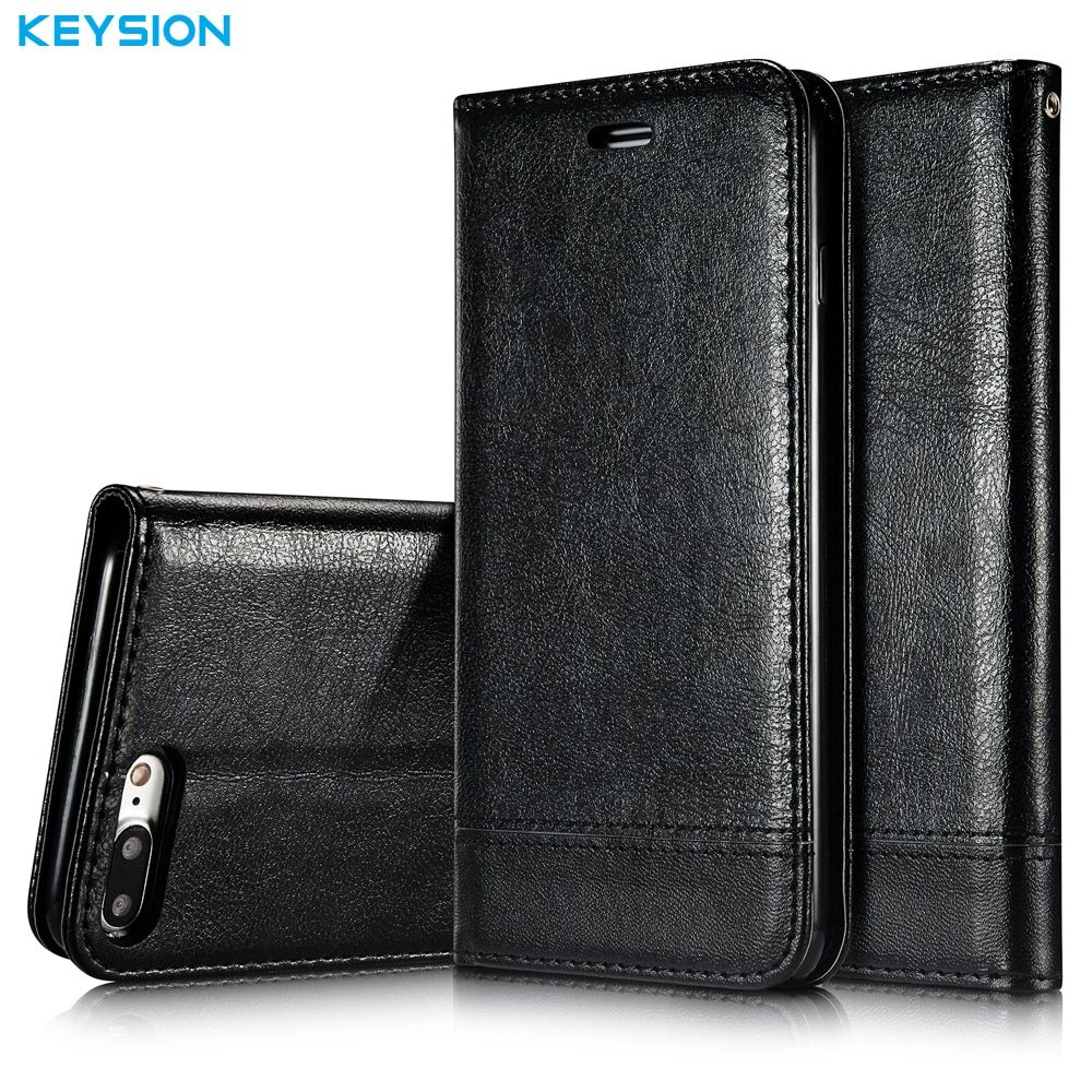 KEYSION Flip Case For iPhone 8 8 Plus PU Leather Luxury Wallet Card Slots Soft TPU Kickstand Back Cover for iPhone7Plus i7 7P