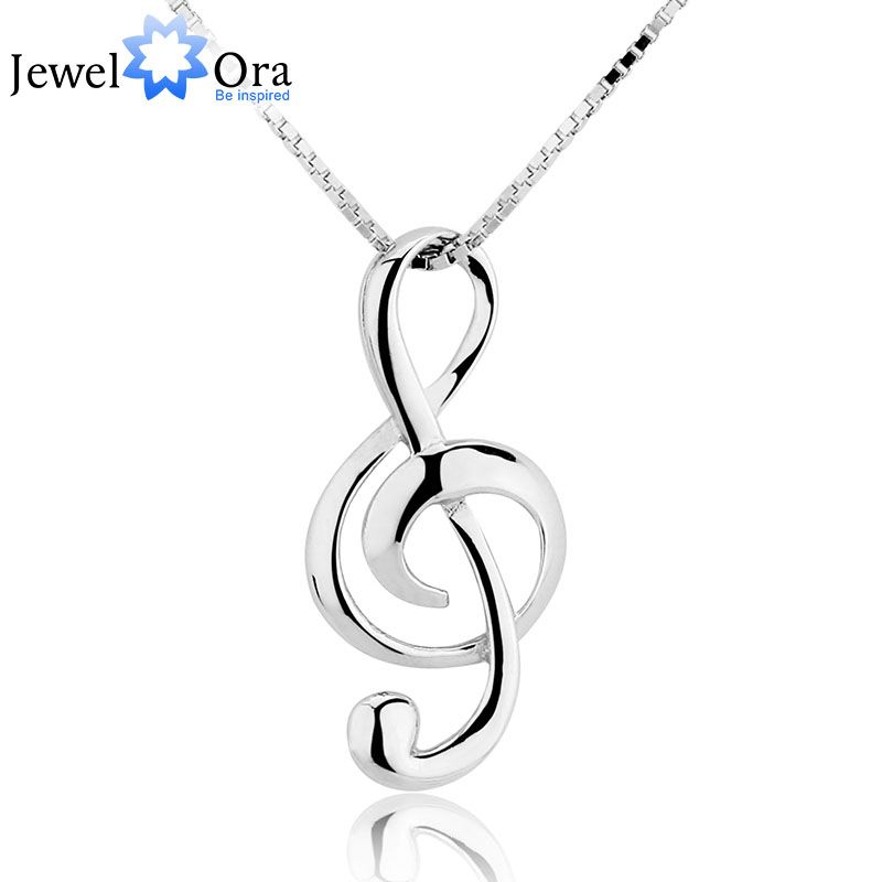 Musical Note Necklaces & Pendants Wedding Jewelry Elegant Women 925 Sterling Silver Necklace Gifts For Her (JewelOra  NE100355)