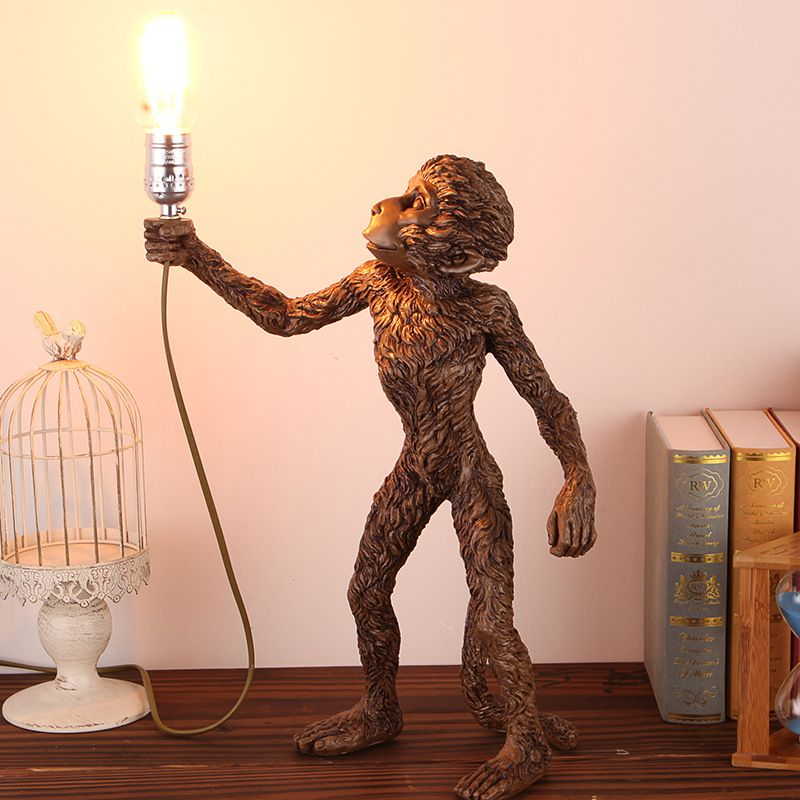 TUDA 2017 Monkey Lamp Living Table Room for Bedroom Corridor Animal Resin Table Lamp Creative Personality Bedside Lamp