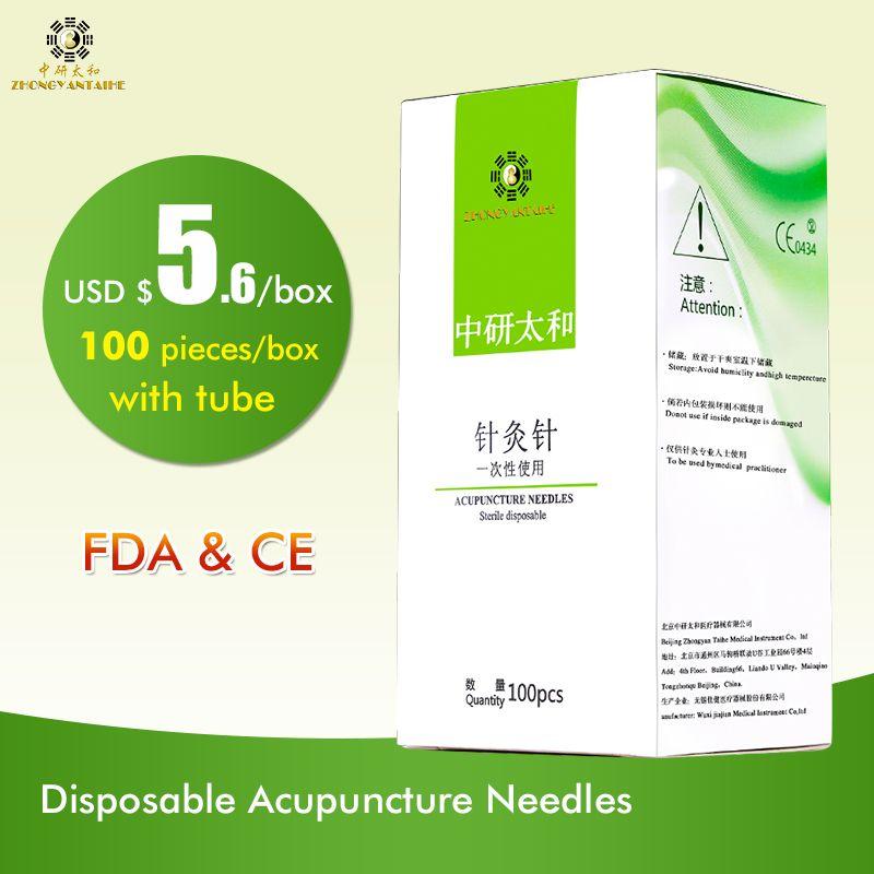 100 pcs/boîte Zhongyan Taihe Aiguille D'acupuncture À Usage Unique Aiguille beauté massage aiguille avec tube