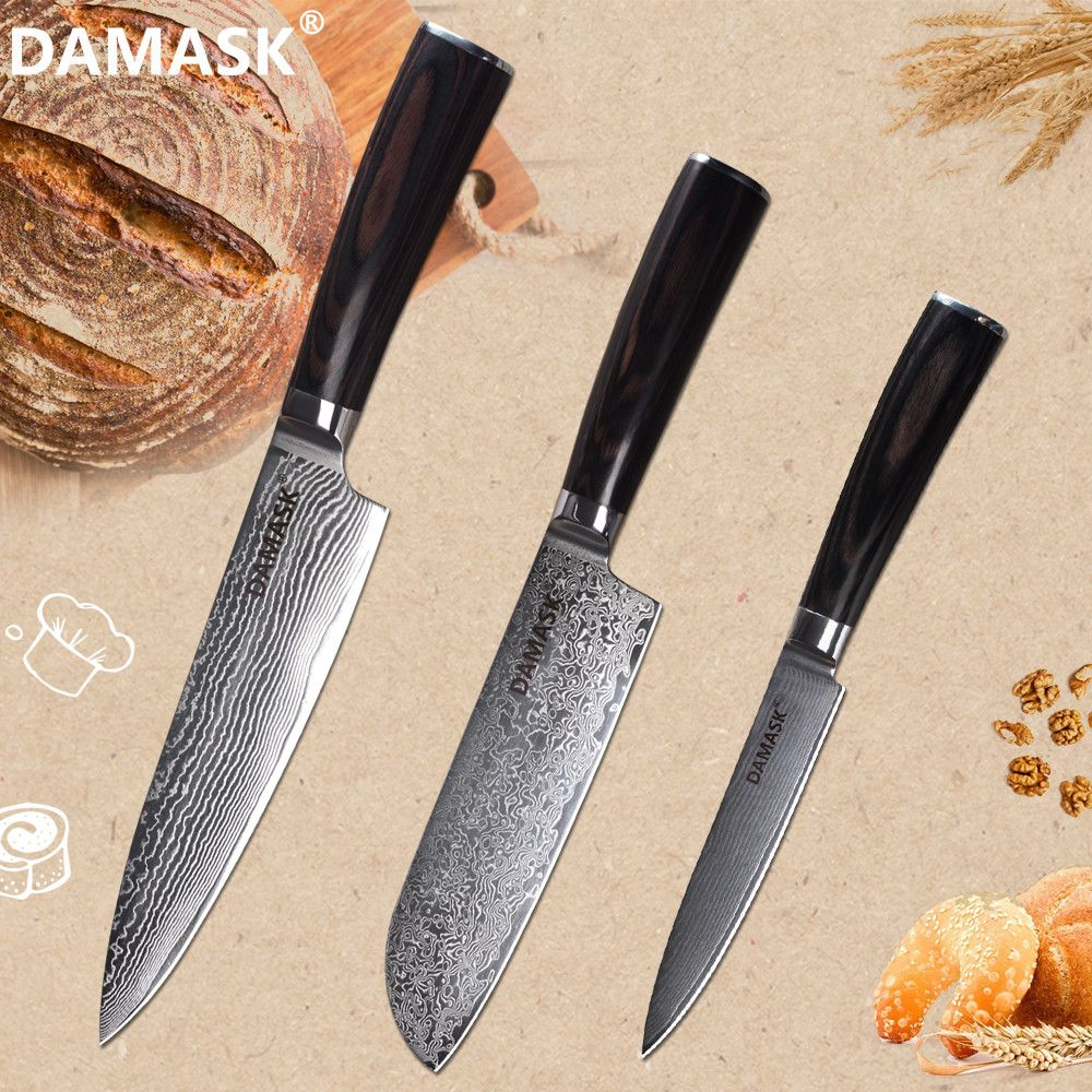 Damast Hohe Grade VG10 Damaskus Küche Messer Set 3 PCS Chef Santoku Utility Damaskus Klinge Messer Japan Kochen Messer Set verkauf