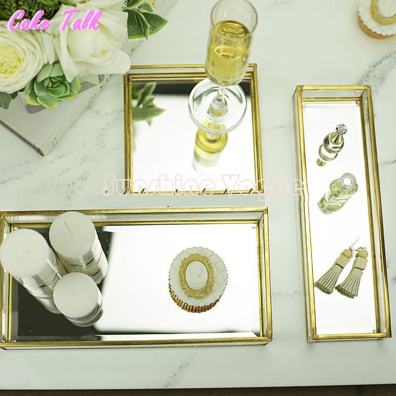 Vintage laiton verre gâteau plateau miroir en verre pour l'affichage de parfum candy bar décoration gâteau boîte Cosmétiques cas