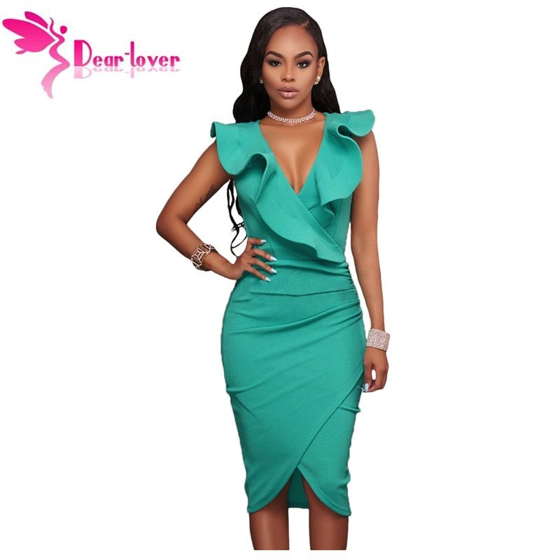 Dear-<font><b>Lover</b></font> Women Summer Sleeveless Dress Sexy Solid Turquoise Ruffle V Neck Bodycon Midi Tight Wrap Party Dress Vestidos LC61474