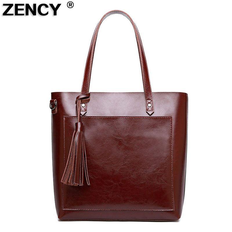 ZENCY Vintage Genuine Leather Oil Wax Cowhide Shopping Bucket Women Shoulder Bags Handbag Cross Body Messenger Female Bag Purse