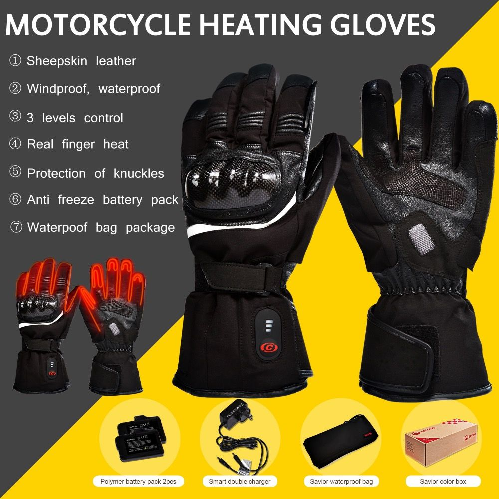 SAVIOR HEAT motorcycle battery heated glove riding racing cycling winter Outdoors Sports quick Heating KNUCKLE EN13594 DHL free