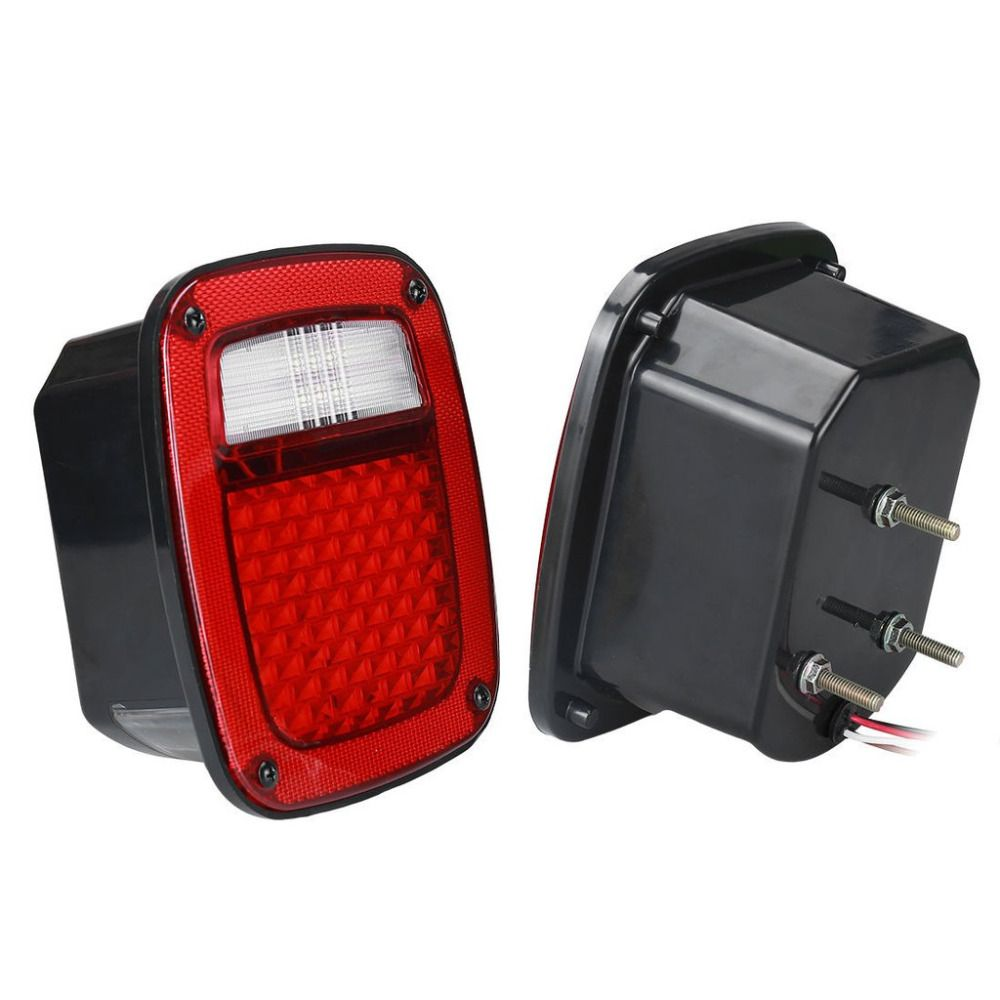 LED Tail Light With LED License turn light Plate Lamp Stop turn signal back up light for Jeep TJ 76-06 YJ CJ