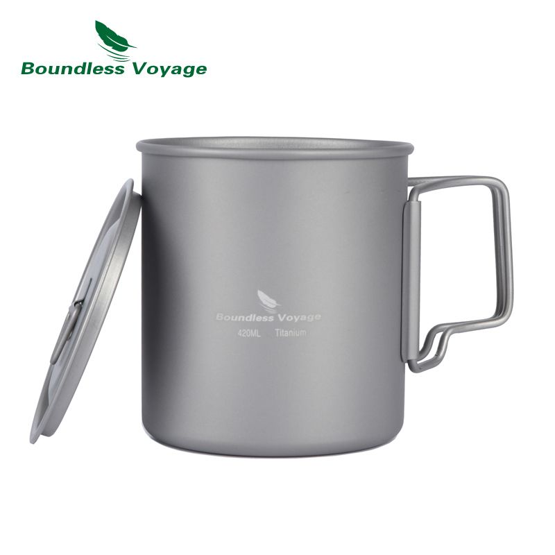 Boundless Voyage 420ml Titanium Cup With Cup Lid Camping Mug Outdoor Water Cup Ti1544B/Ti1518B