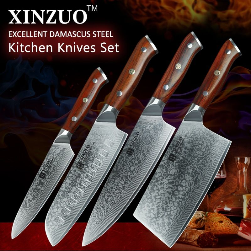 2018 XINZUO VG10 Damascus steel 4PCS kitchen knife set big cleaver chef knives stainless steel santoku knife rosewood handle