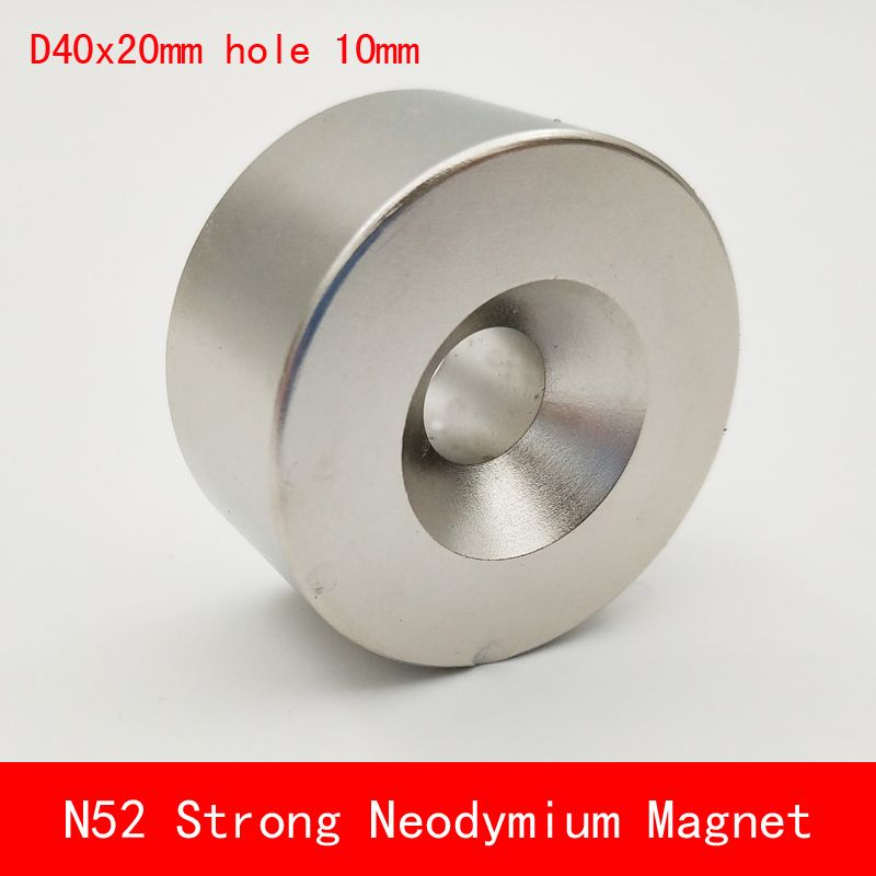 1pcs N45 N52 40x20 hole 10 mm strong powerful Neodymium magnet Permanent Magnet 40*20 hole 10mm N52 magnetic