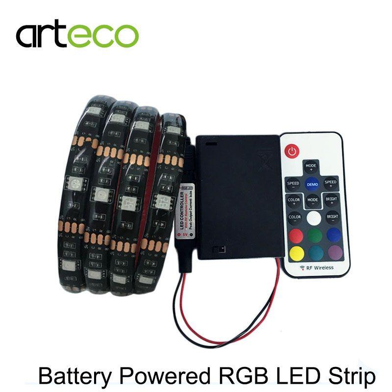Bande MENÉE alimentée par batterie 5050 RVB 1 m IP20 IP65 RVB Flexible de Bande de LED Chaîne Lumière Décoration éclairage