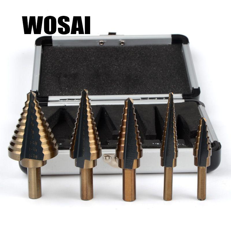 WOSAI 5 pcs/ensemble HSS COBALT MULTIPLES TROU 50 Tailles ÉTAPE FORET ENSEMBLE w/Boîtier En Aluminium
