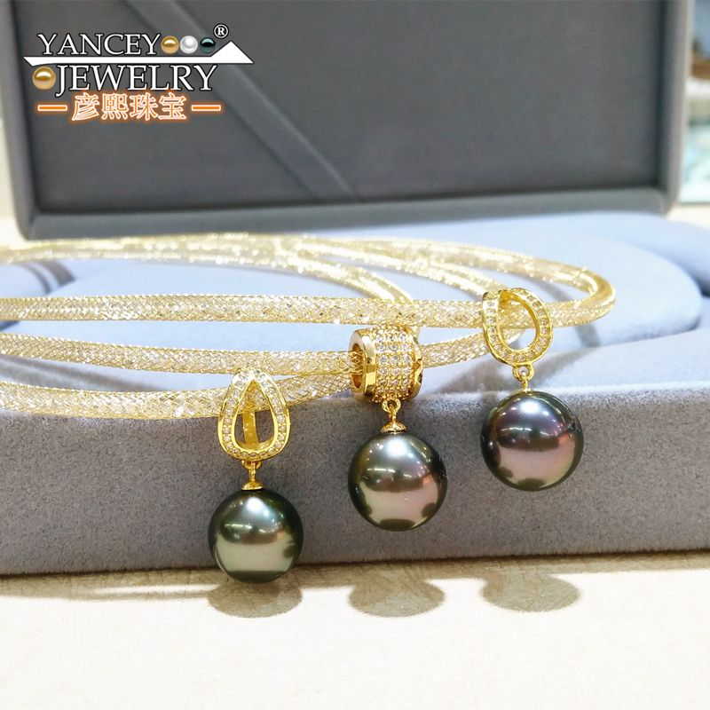 Wedding Gold-plated Jewelry Pendant Necklace Black Round Tahitian Pearl Women,Anti Allergic Gold-plated Luxury Anniversary Gifts