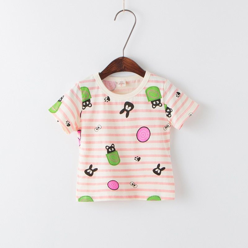 Hot Sale Korean Baby Girls Summer Clothing Colorful Striped Printing Cartoon O-neck Short T-shirts Kids Bottoming Shirts Cooltop