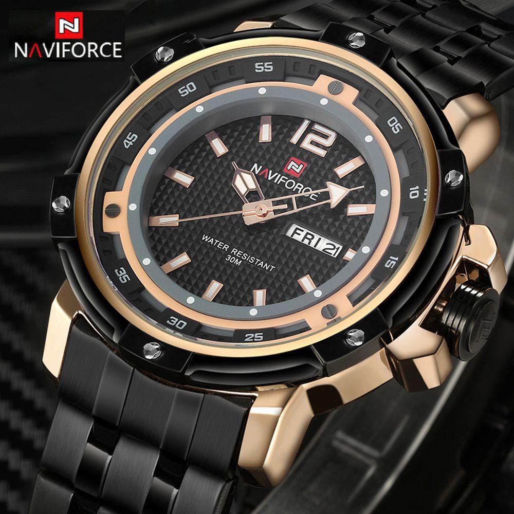 NAVIFORCE Men's Brand Full Steel Quartz Watch Man Army Military Watches Men Waterproof Sports Wristwatches Relogio Masculino