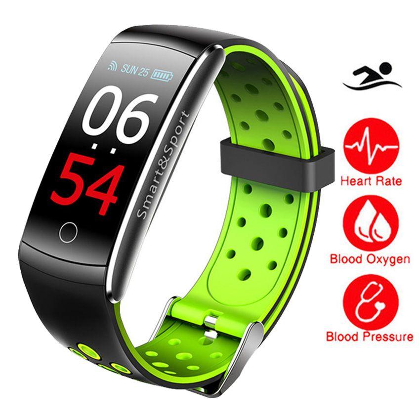 IP68 Schwimmen Farbe Touch Smart Uhr HR/BP/O2 Smart Armbänder Monitor Fitness Armband Für IOS/Xiao mi/Honor PK mi Band 2/Fit Bit 3
