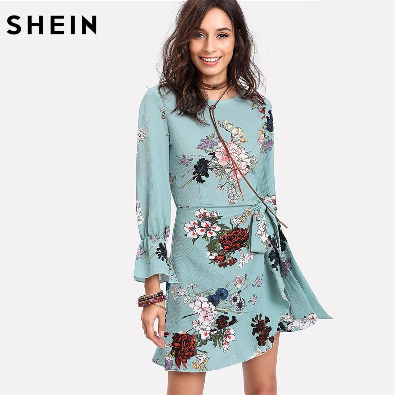 SHEIN Vacacion Dresses Trumpet Sleeve Ruffled Overlap Dress Multicolor Three Quarter Length Sleeve Floral Belted A <font><b>Line</b></font> Dress