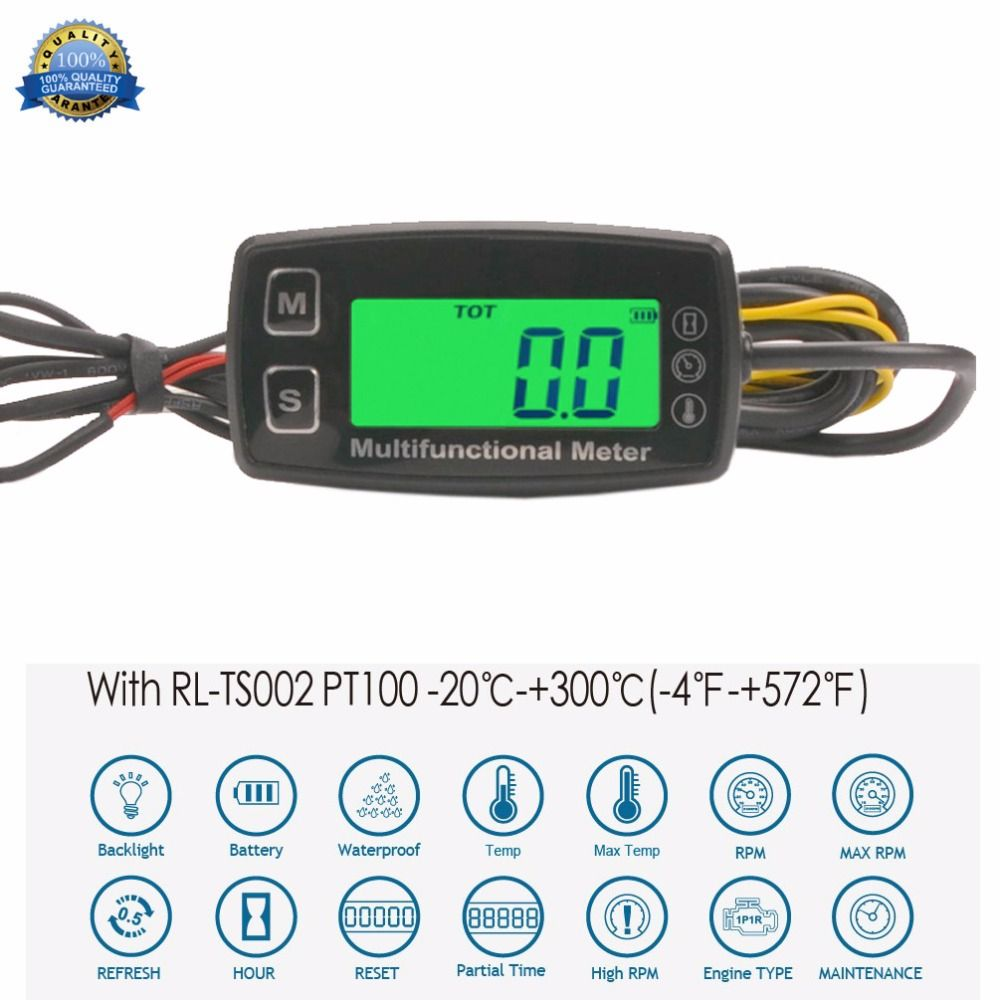 Digital Tach Hour Meter Theomometer Temp Meter for Gas Engine Motorcycle Marine Jet Ski Buggy Tractor Pit Bike Paramotor