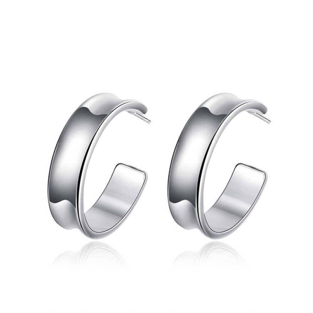 E078 2017 new 925 silver earrings for women smooth simple middle round hoop earring for women fashion jewelry