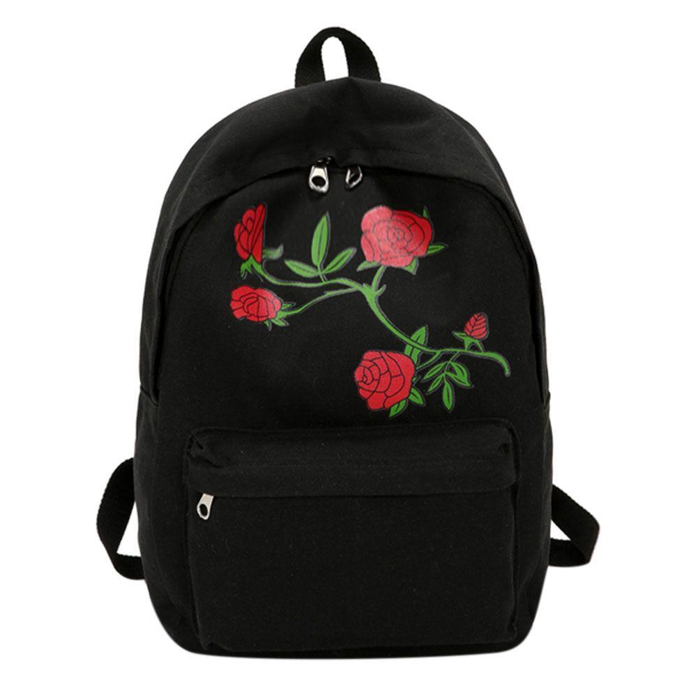 2017 stickerei Rose Frauen Rucksäcke Preppy Chic Leinwand Dame Rucksack Blume Stickerei Große Kapazität Schule Rucksack Mochila
