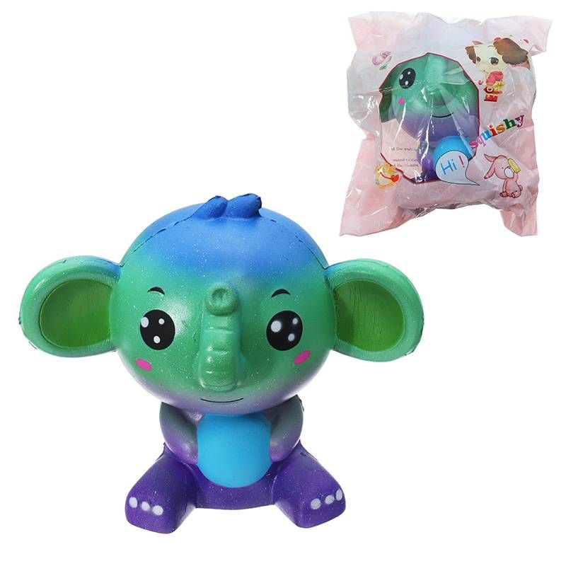 Jumbo Elephant Color Squishied Toys For Phone Pendant Straps 14 cm Largr Size Slow Rising Soft Stress Reliever Collection Gift