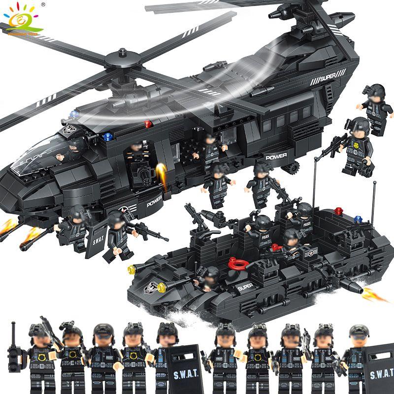 1351 pièces Militaire Armée Swat Police blocs de construction Vaisseau Spatial avec figure Compatible Avec légèreté hélicoptère jouets briques pour enfants