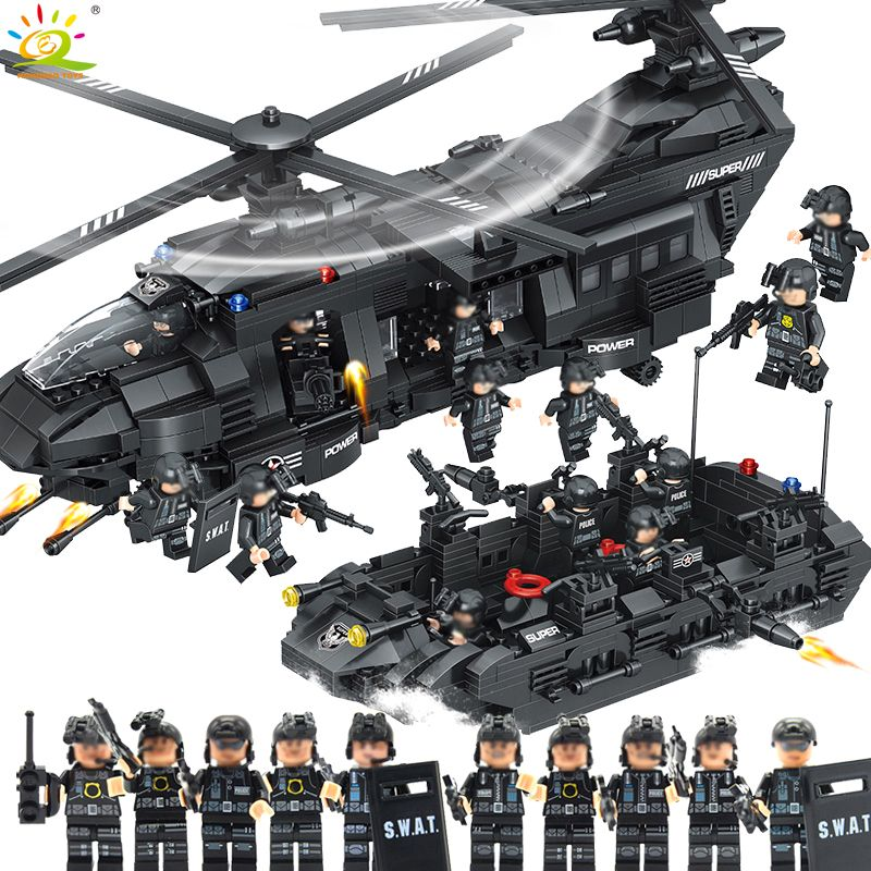 1351pcs Military Army Swat Police Building Blocks Spaceship with figures Compatible Legoed helicopter Bricks Toys for children
