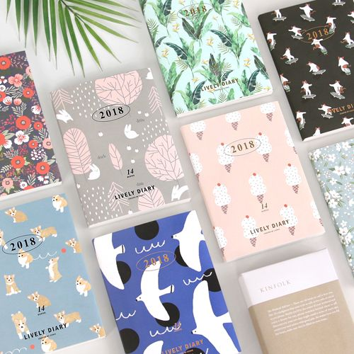 Belle floral design 2018 l'ordre du jour mensuel hebdomadaire planificateur 176 P Livraison Gratuite mode Coréenne journal avec PVC couverture filles cadeau