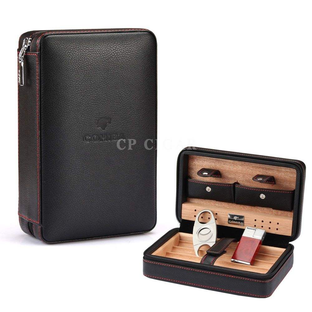 Cohiba Portable Leather Travel Cigar Case Cedar Wood linied Humidor With Torch Jet Flame lighter Cutter Humidifier Set