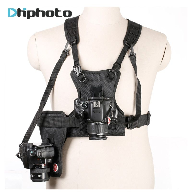 Carrier II <font><b>Multi</b></font> Dual 2 Camera Carrying Chest Harness System Vest Quick Strap with Side Holster for Canon Nikon Sony Pentax DSLR