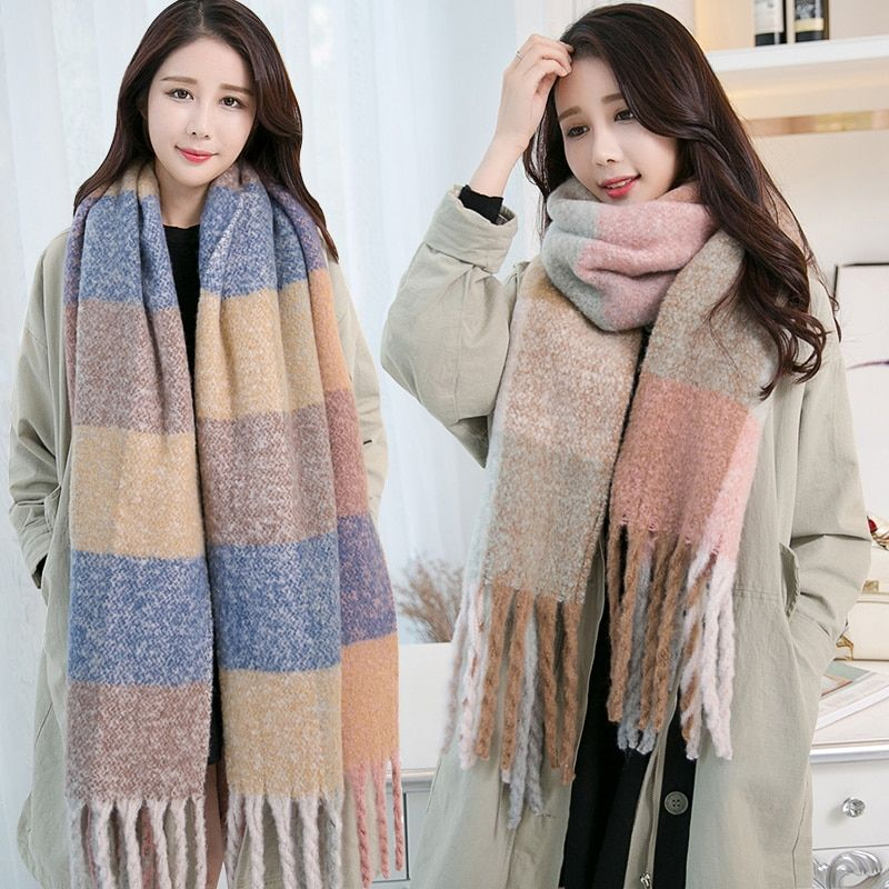 Thick Winter Scarf for Women Luxury Plaid Shawls and Wraps With Tassel Ladies Pashimina Large Vintage Muffler Warm Blanket Scarf