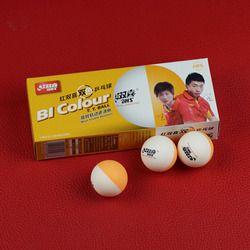 DHS Bi Warna Bola Tenis Meja (Double Warna Super Liga Jahitan ABS 40 + Bola) plastik Bola Ping Pong