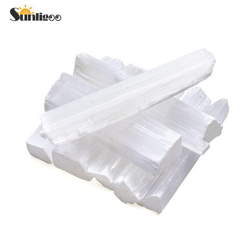 Sunligoo Selenite Crystal Stick Wand Polishing Tumbled Stone Reiki Healing Energy Infused Gemstone Tray Pedestal Decor Ornament