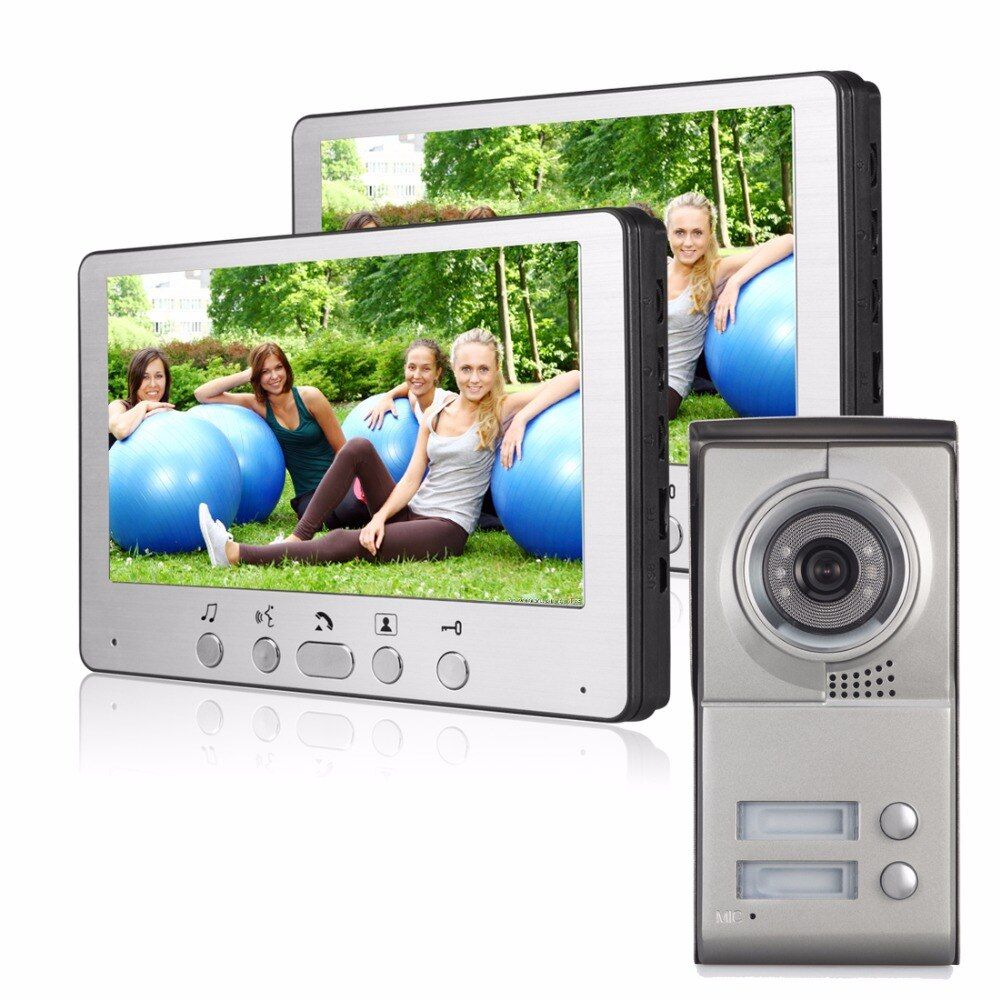 7 Inch LCD Display Video Doorbell Night Vision Rainproof Entry System Home Security Camera Video Door Intercoms For 3 Apartment