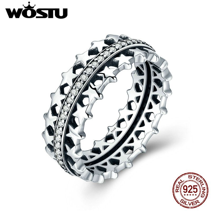 WOSTU 2017 New High Quality 925 Sterling Silver Sparkling Stars Stackable Rings For Women Jewelry Gift CQR049