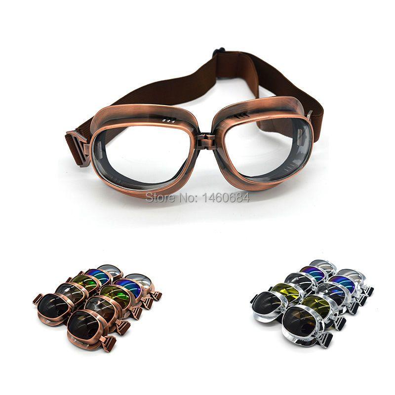 2017 rétro WWII Moto lunettes Lunette Moto Aviateur Vintage lunettes argent/cuivre
