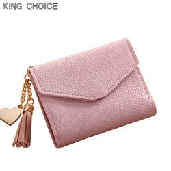 2017 fashion solid tassel women wallet for credit cards small luxury brand leather short womens wallets and purses zipper&hasp