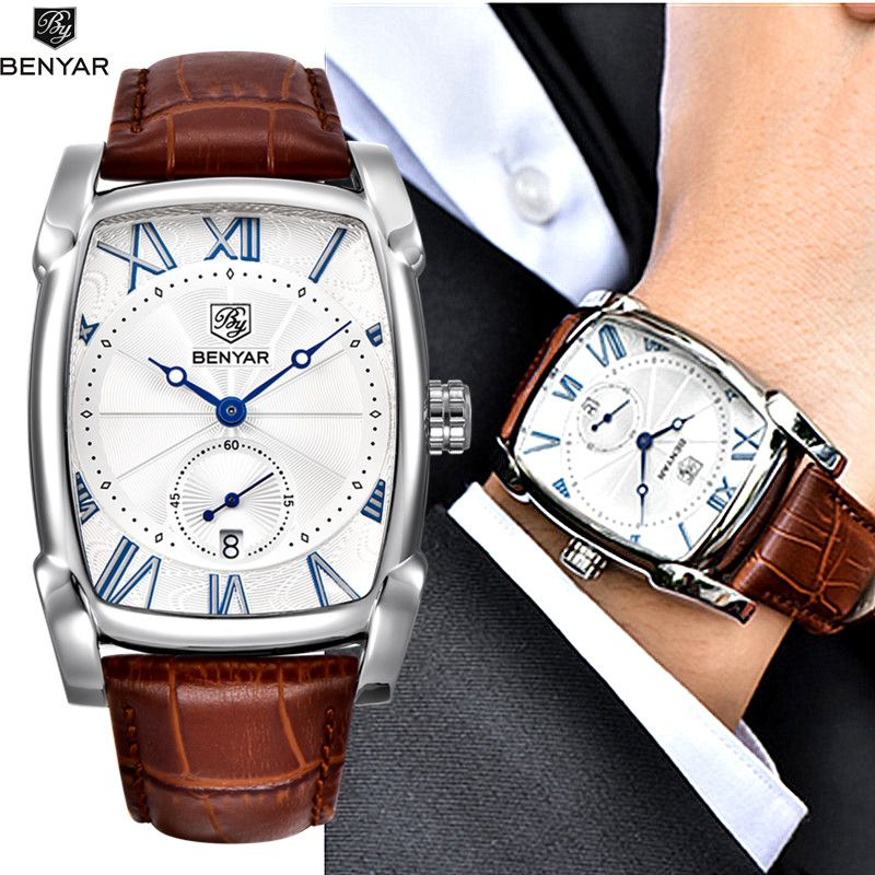 <font><b>Benyar</b></font> 2017 Luxury Brand Quartz Mens Watches Brand Men Military Leather Men Sports Watch Hour Date Waterproof Relogio Masculino