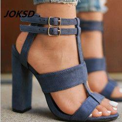 JOKSD 2018 Nouveau Sexy En Daim Femmes Sandales Mince Talons hauts 9 CM Gladiateur Bandage Croix Liée Summer Party Mode Femme Chaussures L37