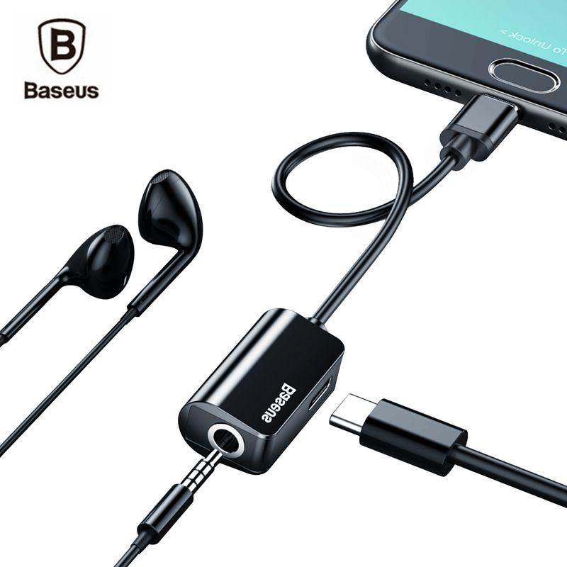 Baseus Type-C à 3.5mm Écouteur câble Adaptateur USB Type C mâle à 3.5mm Casque AUX audio Jack pour Xiaomi mi 6 note 3 Huawei