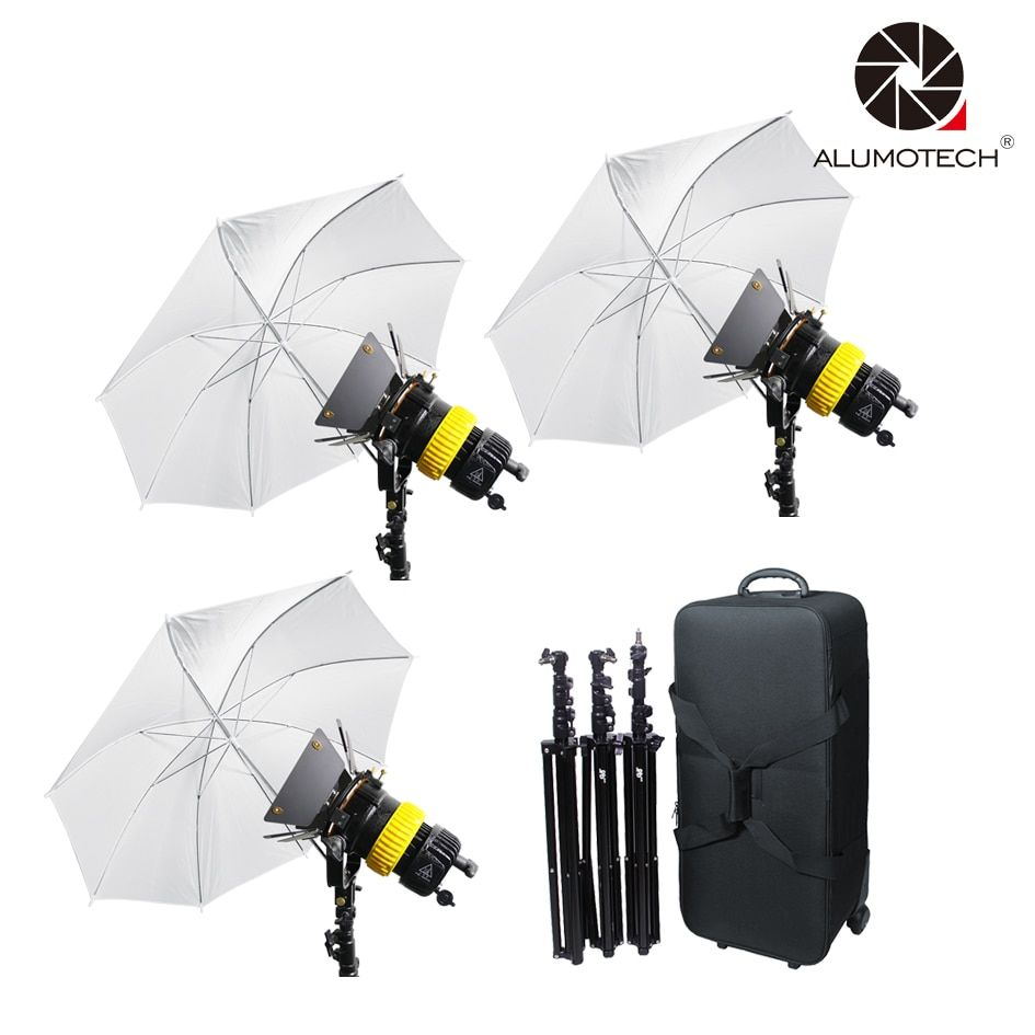 ALUMOTECH 3x80W LED V-lock Power+3 Stand +Umbrellax3 Bi-color High CRI Spotlight For Video