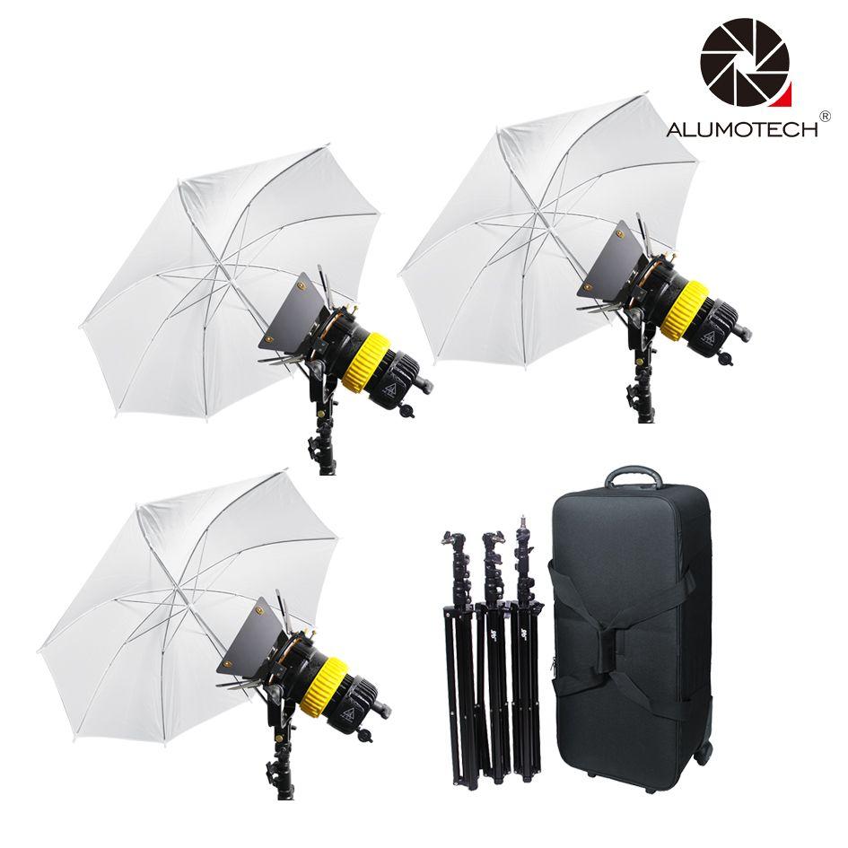 ALUMOTECH 3x80W LED V-lock Power+3 Stand +Umbrellax3 Bi-color High CRI Spotlight For Video