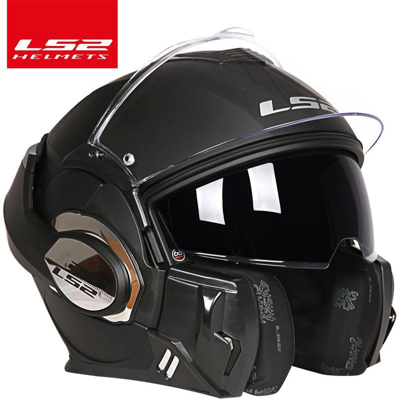 100% original LS2 Tapfere helm ls2 ff399 180°flip up Chrom-überzogene helm somersault Motorrad helm mit Pinlock