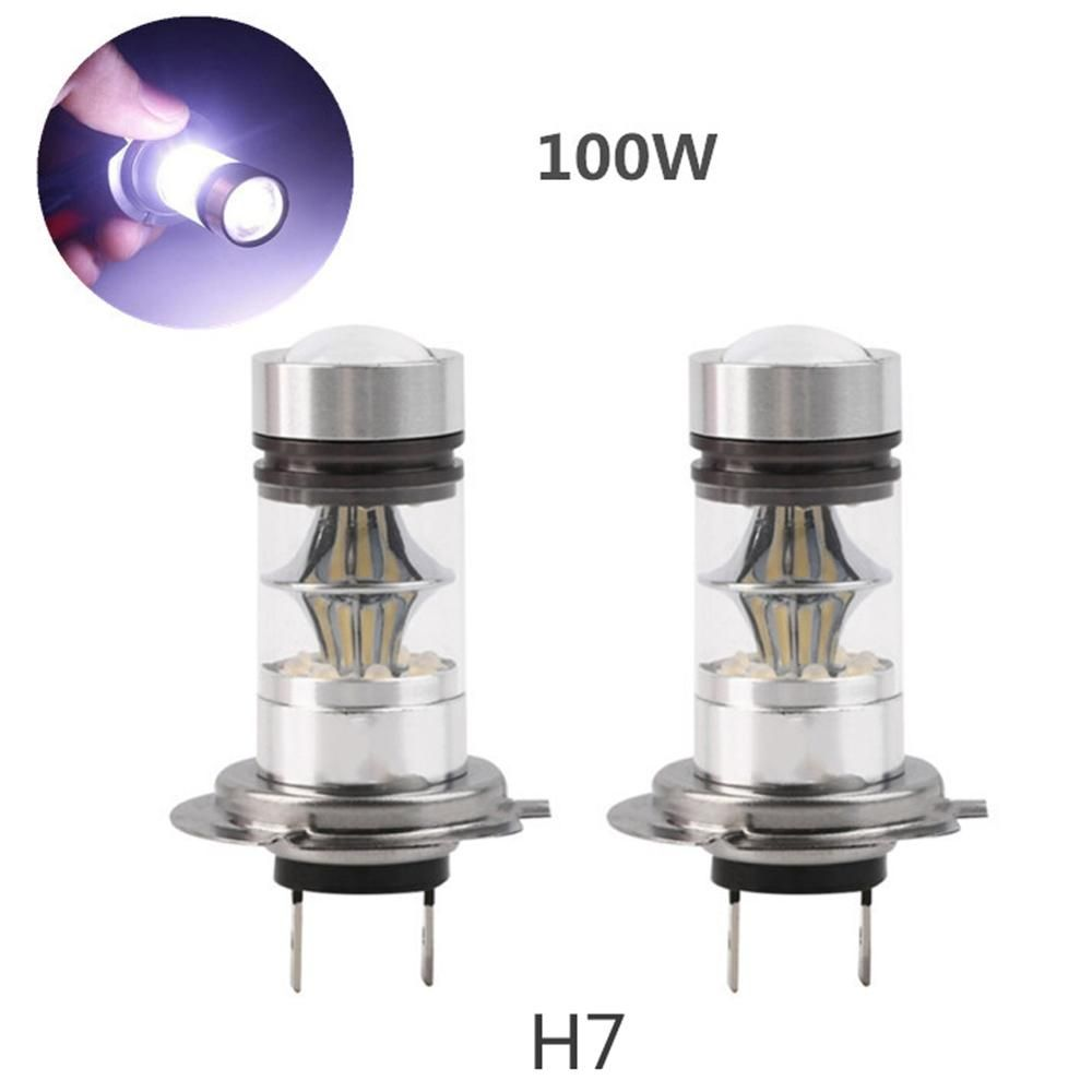 2Pcs H7 100W LED Car Fog Tail Driving Light Bulb High Power White Automotive Replacement Light-emitting Diode Head Lamp 12-24V