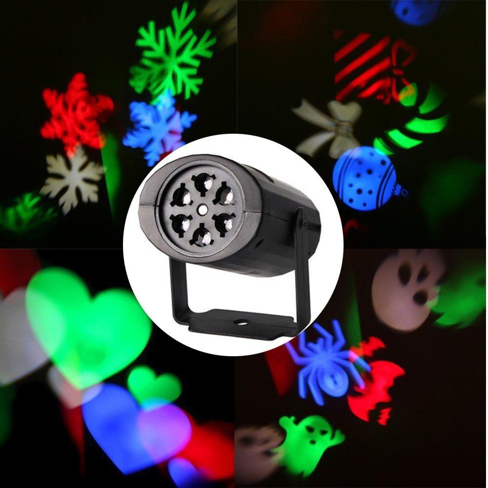 SXZM Auto Schneeflocke Multicolor Projektor Led-leuchten mit 4 STÜCKE Umschaltbar Muster Objektiv für Geburtstag, urlaub, hochzeit, Party