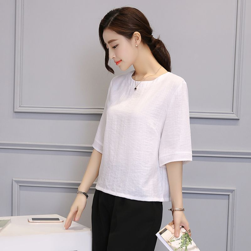 2018 New Summer Cotton And Linen T-shirts, Women's Short Jacket, Large Size, Loose Round Neck, Simple Temperament, Cotton And Li