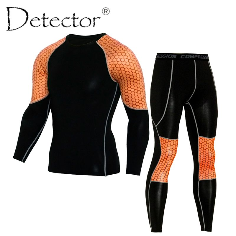 Detector Mens Compression Shirt Pants Set Workout Fitness Sportswear Bodybuilding Tight Long Sleeves Shirts Leggings Sport Suit