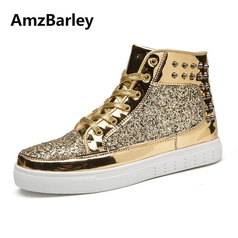 AmzBarley Men Shoes Flats Casual Rivet Studded High Top Patchwork Lace Up Flat Glossy Gold Couple Lovers Zapatillas