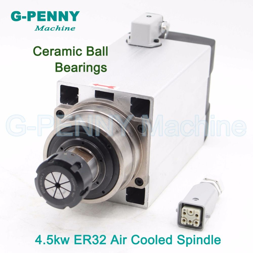 4.5KW ER32 Air cooled square spindle motor Ceramic ball bearings 220v/380v CNC air cooling for woodworking CNC engraving machine